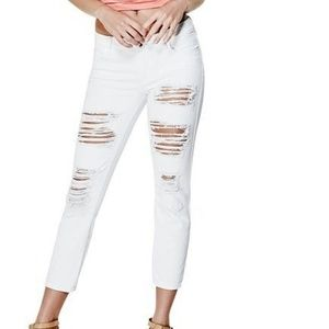 Guess Ripped Cropped   Skinny Jeans